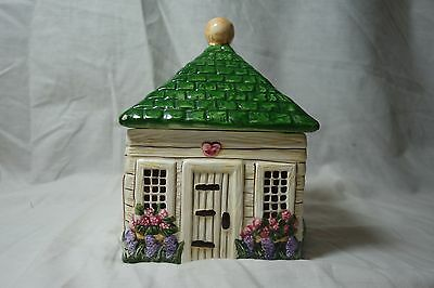 Block Country Village by Gear Tea Canister with Lid Garden Shed