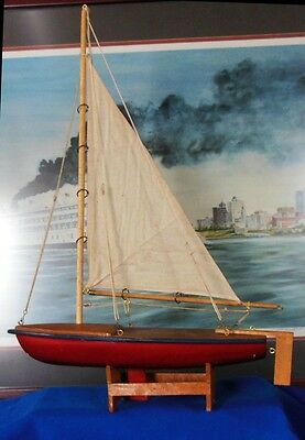 """Vintage 15"""" Wooden Model Sailboat w/ Stand -  Wood Cloth Brass and String"""