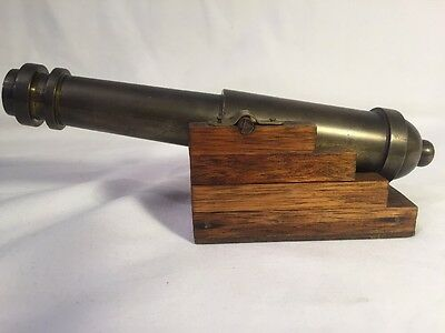 Brass Cannon On A Wooden Base (ref p941)