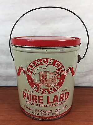 Vintage French City Brand Pure Lard Advertising Evans Packing Co. Gallipolis, OH