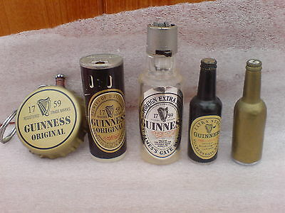 Collection Of 5 Vintage Guinness Lighters (No Fuel In Any Of Them)