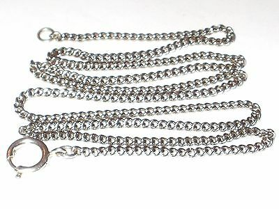 Vintage Long Sterling Silver Curb Chain Necklace With Large Bolt Clasp,26 Inches
