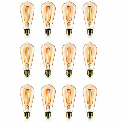 12x Philips LED 50w Dimmable Squirrel Cage Filament E27 Edison Light Bulbs 630Lm