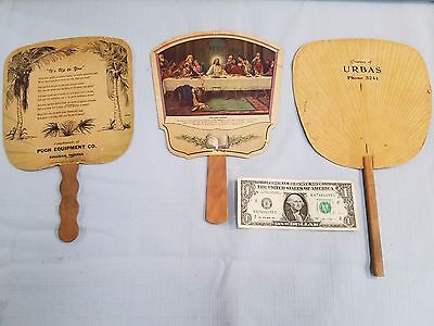 G203) F) Lot of 3 1940's Advertising Fans, Paper w Wooden Handles, Worn