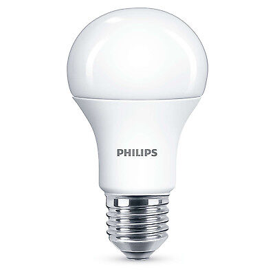 60 x Philips LED Frosted GLS E27 Edison Screw 40W Cool White Light Bulbs 470Lm