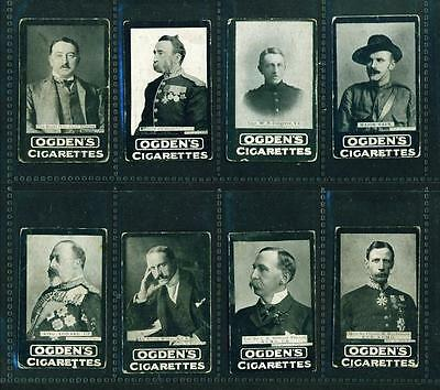 8 x OGDEN'S TABS – MILITARY OFFICERS – c1901