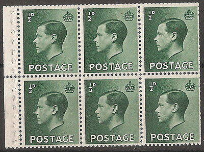 1936  1/2d  GREEN  BOOKLET PANE OF 6  SG 457b  UNMOUNTED  MINT