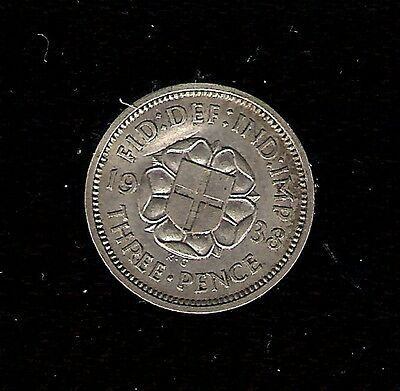Silver ( .500 ) 1938 THREEPENCE 3d BRITISH COIN George VI 6th DENT ABOVE HEAD