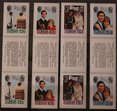 Royal Wedding 1981 Charles and Diana Tonga Margin Pairs With Labels MNH