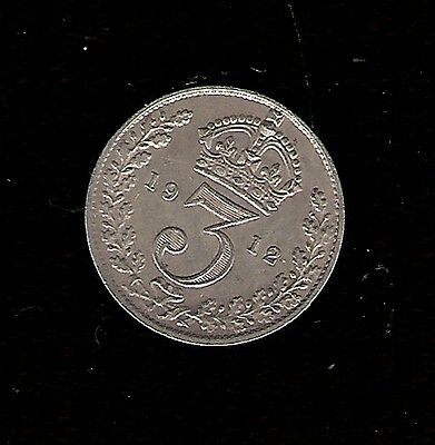 Silver ( .925 ) 1912 THREEPENCE 3d BRITISH COIN George V 5th