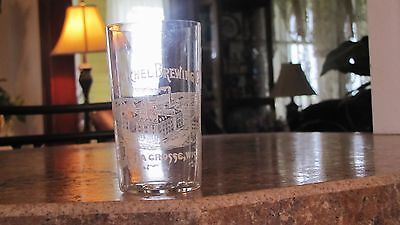 Scarce Pre Pro Etched Beer Glass C.J.Michel Brewing Lacrosse Wisconsin Factory