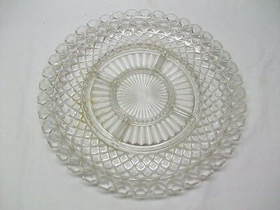 Anchor Hocking Depression Glass Waterford/Waffle Crystal Huge 5 part Relish Dish