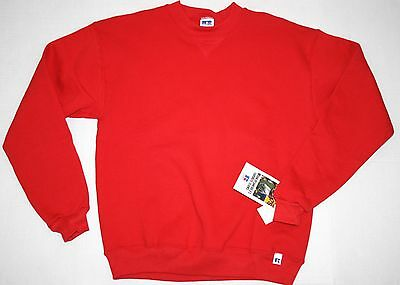 VINTAGE! Youth Russell Athletic Solid Red USA Made Crewneck Sweatshirt Size XL