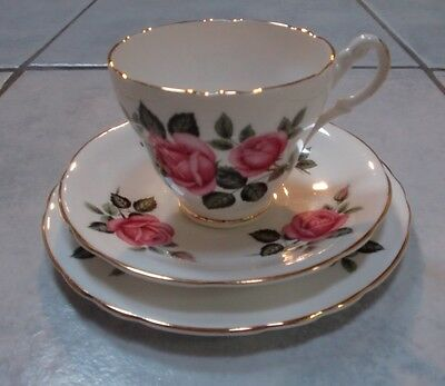 Aynsley Trio SUPER Vintage China with Harrowby Pattern of Pink Roses & Gold