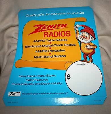 Vintage Zenith Radios Cb, Counter-Top, Easel-Back Sign ~ Christmas! Unused! Nr!