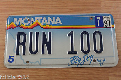 MONTANA  PERSONALIZED LICENSE PLATE TAG #  RUN 100    1990s-2000s BIG SKY