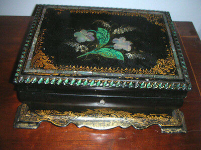 Antique Victorian Mother Of Pearl Inlaid Jewellery/sewing Box
