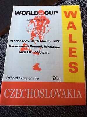 Wales v Czechoslovakia 1977 World Cup Qualifying Programme