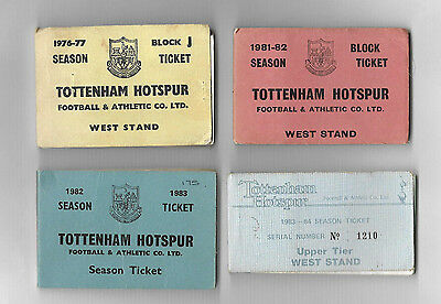 TOTTENHAM HOTSPUR - 4 x Season Ticket Booklets 1976-1983 with many vouchers left
