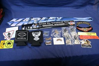 LOT of Harley-Davidson HD HOG Pins Decals Patches Key Fobs Tie more