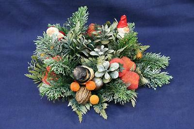 Vintage Christmas Candle Ring Wreath Plastic Blow Mold Santa Elf Gnome Snowman