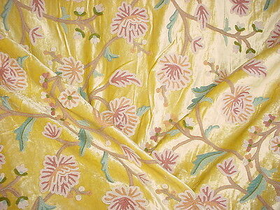 2-3/4y SCHUMACHER EMBROIDERED GARDEN FLORAL WOOL CREWEL VELVET UPHOLSTERY FABRIC