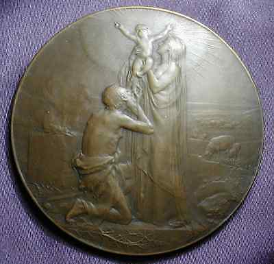 1898, Christianity born from Paganism, Large French bronze art medal.