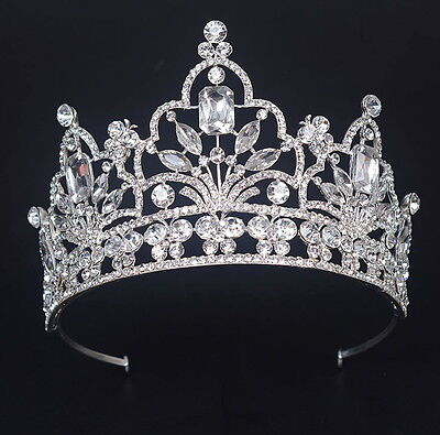 9cm High Large Full Crystal Wedding Bridal Party Pageant Prom Tiara Crown