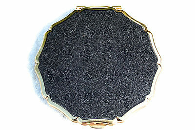Vintage Black & Gold Tone Stratton Queen Convertible Powder Compact Mirror