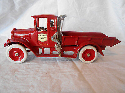 "1920's Cast Iron ARCADE 10 3/4"" International Harvester IH Red Baby Dump Truck"