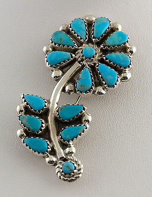 Old Pawn Native American Turquoise Flower Cluster Pin Sterling Silver .925