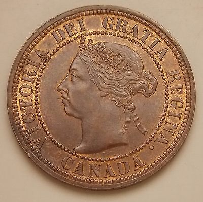 """1890 Canada Large 1 Cent Canadian Victoria Coin - Curved """" I """" In Dei Variety"""