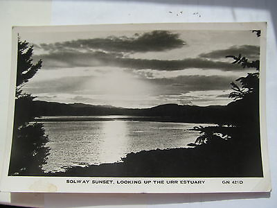 Solway Sunset looking up the Urr Estuary GN 421D Bonnie Gallowa' postcard