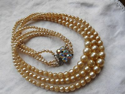 Lovely Vintage 1950s Triple Strand Pearl Necklace rainbow crystal clasp