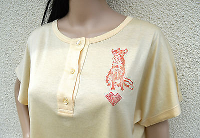 Vintage 1980s oversized yellow T-shirt fox heart spirit animal linocut print 18