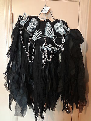 Set of 3 HALLOWEEN PROPS DECORATION 3 ft. *HANGING SKELETONS SKULL GHOST**NEW**