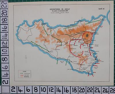 WW2 MAP ~ OPERATIONS IN SICILY10 JULY - 17 AUGUST 1943 ~ 7th US ARMY 8th ARMY
