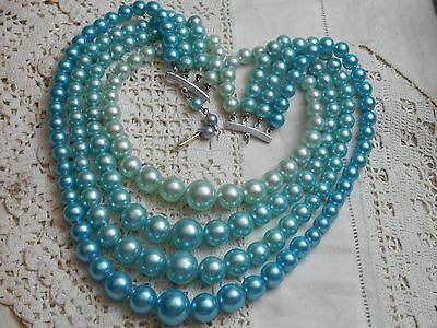 Lovely Vintage 1950s FOUR Strand Blue Pearl Necklace