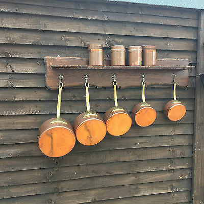 French Vintage Style Copper Saucepans - set of five