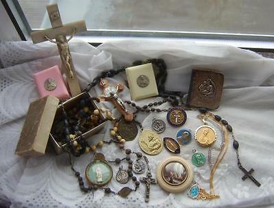 Job Lot RELIGIOUS Items VICTORIAN Rosaries SILVER Prayer Book Medals Pendants...