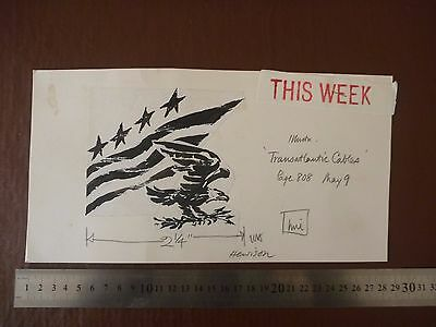 "STARS & STRIPES USA Pen / Ink original by famous 20th C illustrator ""Bill Hewiso"