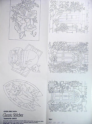 Eight (8) Classic Stitches Fabric Transfer Sheets Various Designs & Motifs