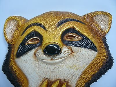 Vintage Smiling Racoon w Flowers Wall Plaque - 1977 Homco Made in USA