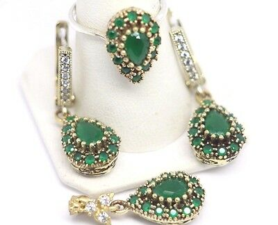 Turkish Handmade 925 Sterling Silver Emerald Ladies Set Size 7.25 free resize