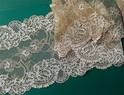 9 ft Beige & Cream  French Made Edwardian Galloon Lace Double Edged Stretch