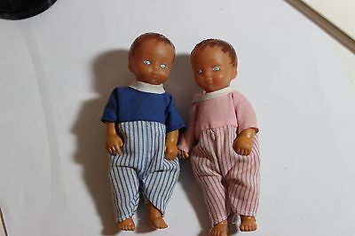 "Vintage Doll house Baby Doll Twins Boy and Girl lot cute rubber 4-1/4"" tall"