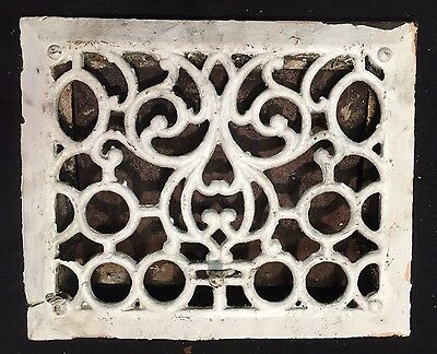 "#15 ANTIQUE VICTORIAN ORNATE CAST IRON FLOOR WALL REGISTER GRATE 11.75""x9.75"""
