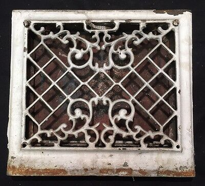 "#16 ANTIQUE VICTORIAN ORNATE CAST IRON FLOOR WALL REGISTER GRATE 14.75""x13.25"""