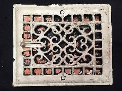 "#10 ANTIQUE ORNATE CAST IRON FLOOR WALL REGISTER GRATE 11.5""x9.75"" STUNNING"