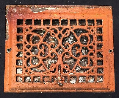 "#7 ANTIQUE ORNATE CAST IRON FLOOR WALL REGISTER GRATE 14.5"" x 11.5"" STUNNING"